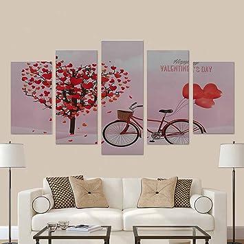 bca4d77994311 interestprint fondo del día de San Valentín con forma de corazón con forma  de árbol y una bicicleta ...