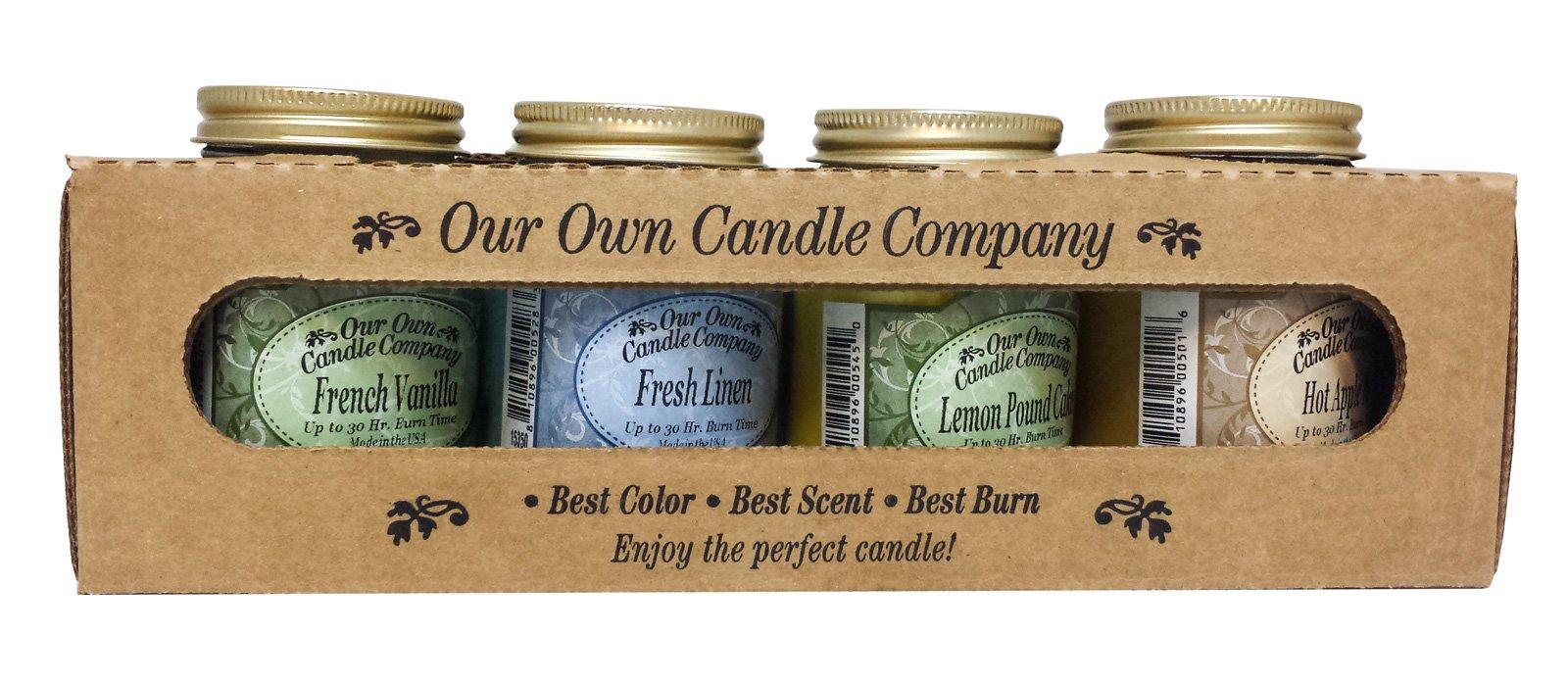 Our Own Candle Company 4 Pack Everyday Assortment Mini Mason Jar Candles - 3.5 oz French Vanilla, 3.5 oz Fresh Linen, 3.5 oz Lemon Poundcake, 3.5 oz Hot Apple Pie