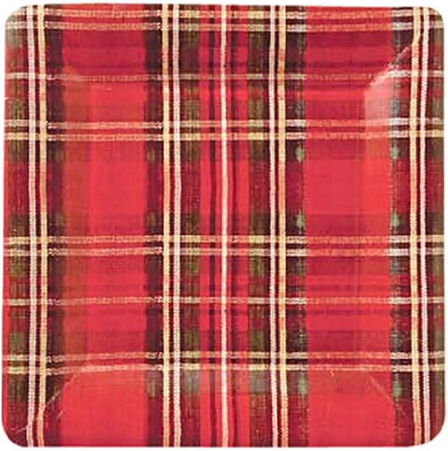 Ideal Home Range 8 Count Square Paper Plates, 7-Inch, Classic Red and Green Plaid Check