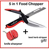 Kitchen Thyme 5 in 1 Multifunctional Knife with Built-In Chopping Board Ideal as Cutter, Dicer, Chopper, Peeler, Slicer for your Fruit, Veg, Meat and Cheese + Magic Sharpener and Best Herb Stripper