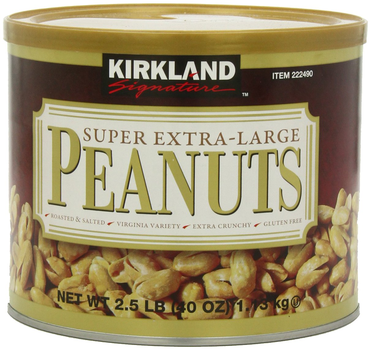 Kirkland Signature Super XL VA Peanuts, 40 Ounce, Light Brown
