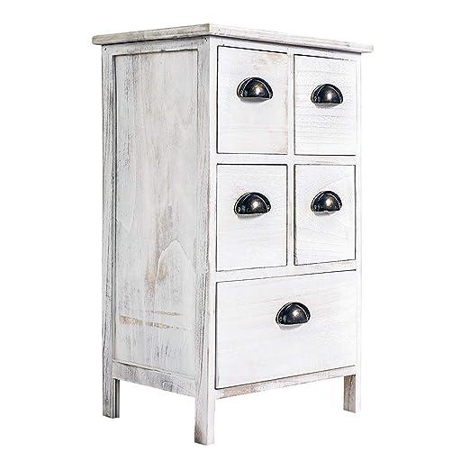 Rebecca Mobili Cajonera de 5 cajones, mesilla de noche blanca, para dormitorio baño, madera de paulownia - Medidas: 66 x 40 x 30 cm (AxANxF) - Art. ...