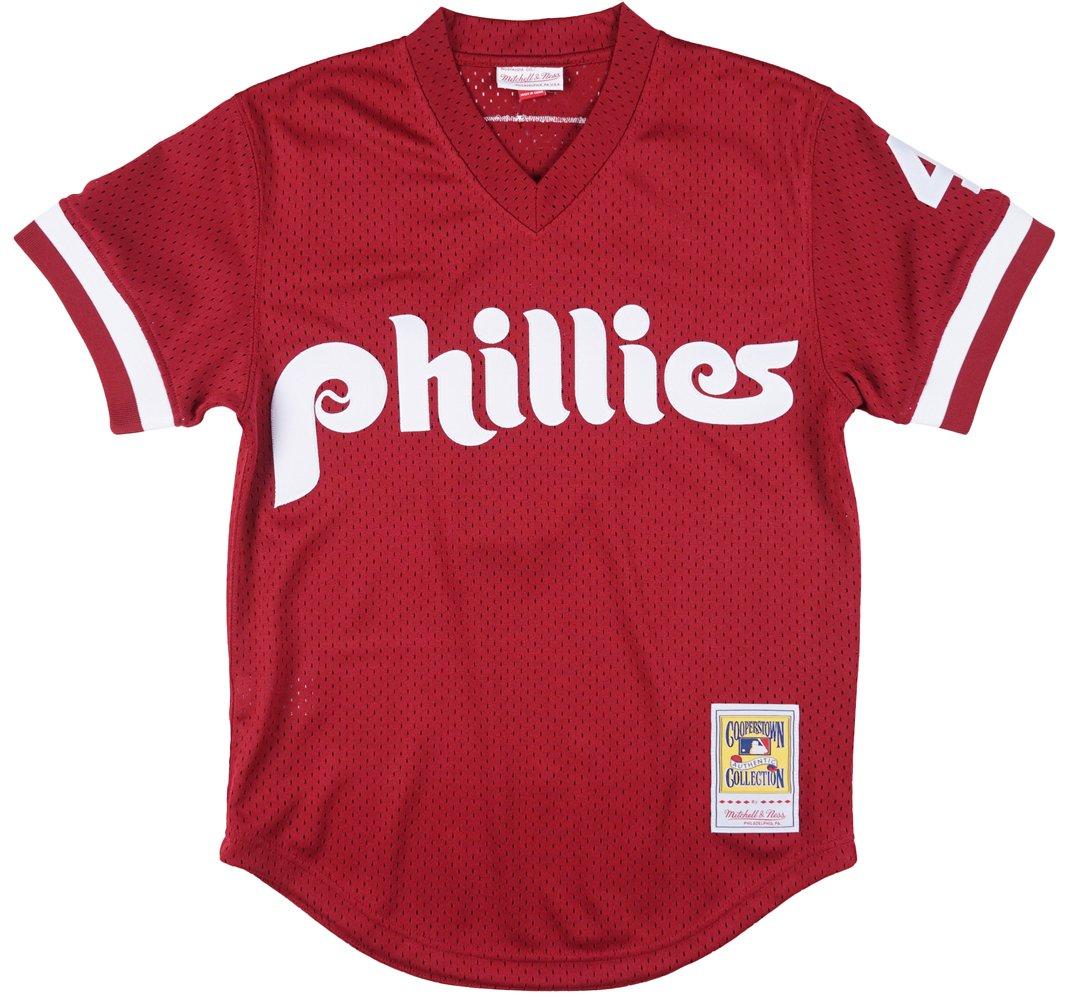 6b6c399ffa64 Amazon.com   Mitchell   Ness Philadelphia Phillies Lenny Dykstra 1991  Cooperstown Maroon Authentic Practice Jersey   Sports Fan Jerseys   Sports    Outdoors