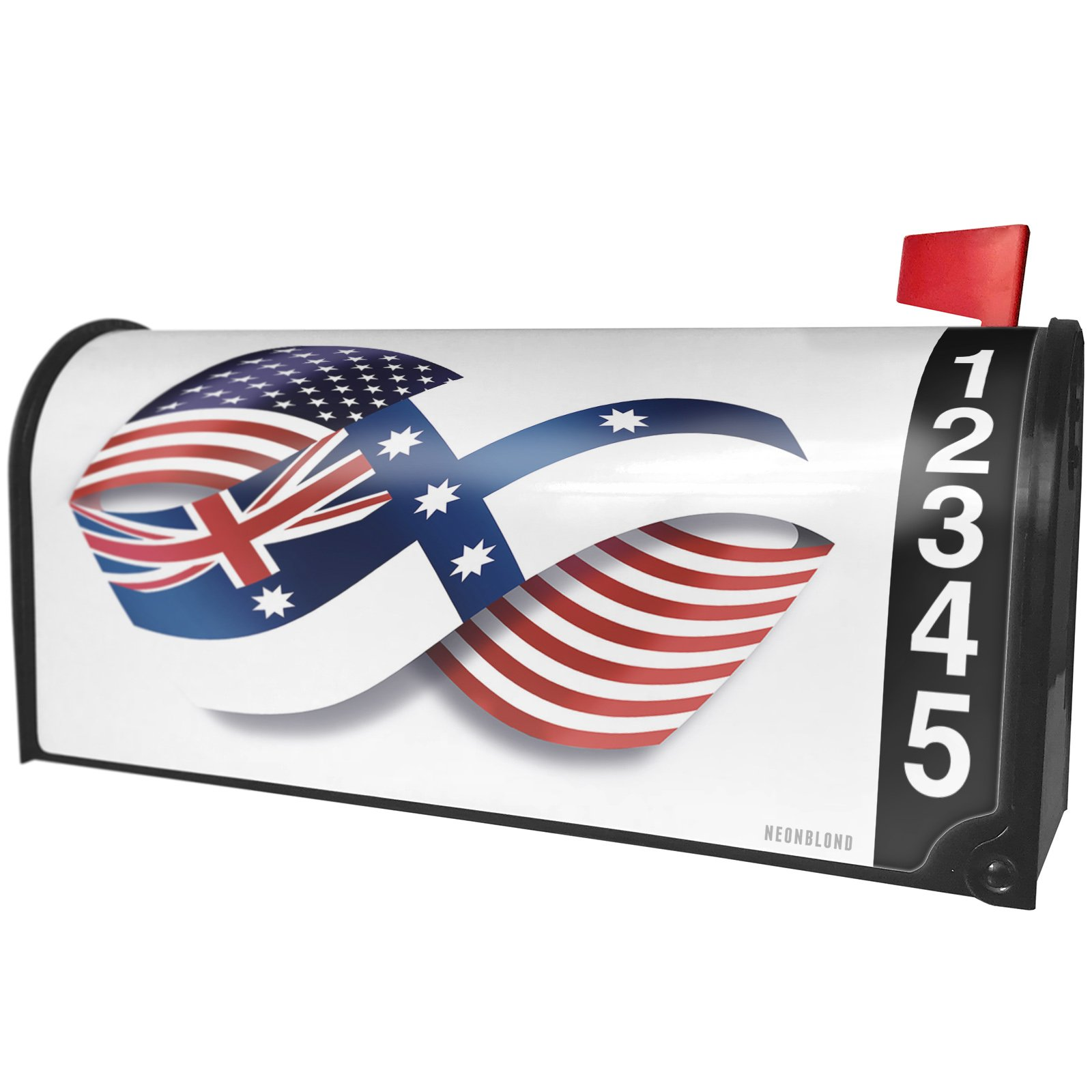 NEONBLOND Infinity Flags USA and New South Wales (Australian Federation) Magnetic Mailbox Cover Custom Numbers