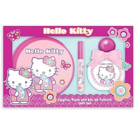 Estuche colonia 50ml + brillo labios + neceser Hello Kitty ...