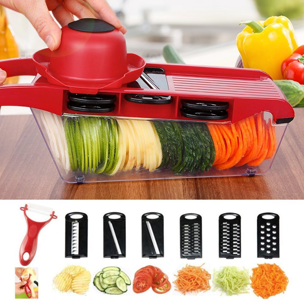BuySevenSide Vegetable-Fruit-Cheese-OnionSlicer Cutter Chopper, 6 Interchangeable Blades with Safe Hand Guard and Peeler with Food Catch Tray, Efficient & Fast