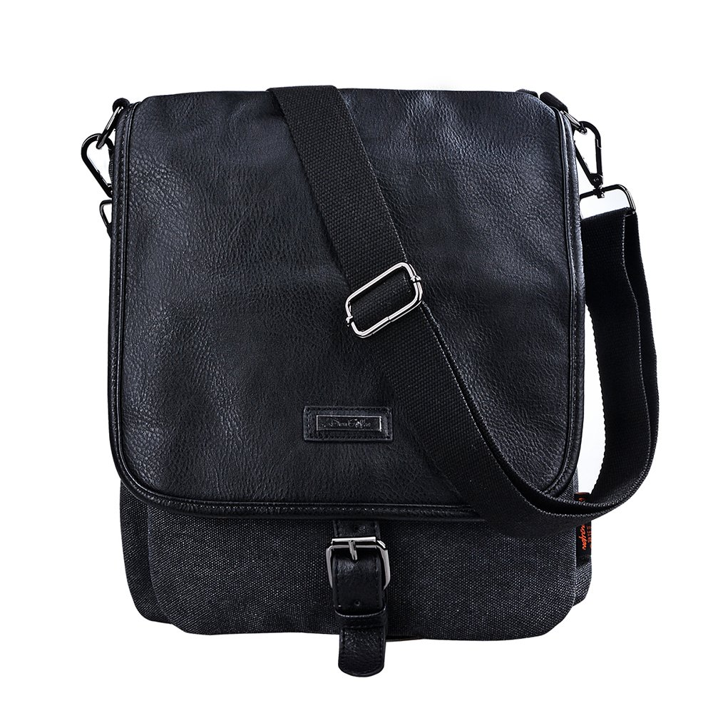 Douguyan Business Briefcase Canvas Leather Messenger Bag for Large Tablet Mens Shoulder Bag Satchel Sling Bag Black 236