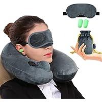 Jasonwell Almohada de Viaje Inflable Relajante Cuello Apoyo Travel Neck Pillow Inflatable para avion vuelos de larga distancia,tren, coche y oficina con cubierta suave lavable,bolsa de transporte y con antifaz para dormir (Gris)