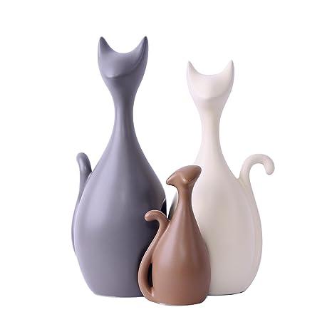 Adorables adornos de cerámica de la familia de gatos, estilo moderno y elementos decorativos creativos