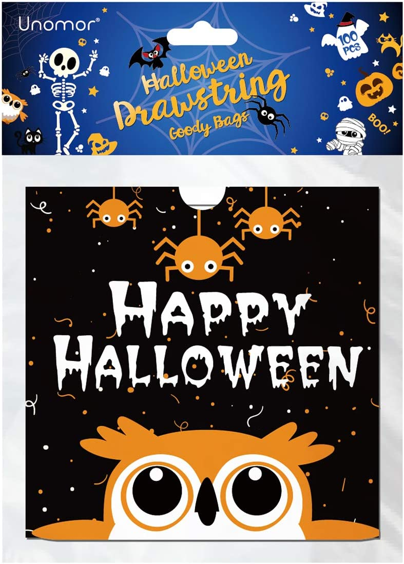Halloween Treat Bags, Drawstring Halloween Candy Bags for Kids Trick or Treat Bags 100 PCS