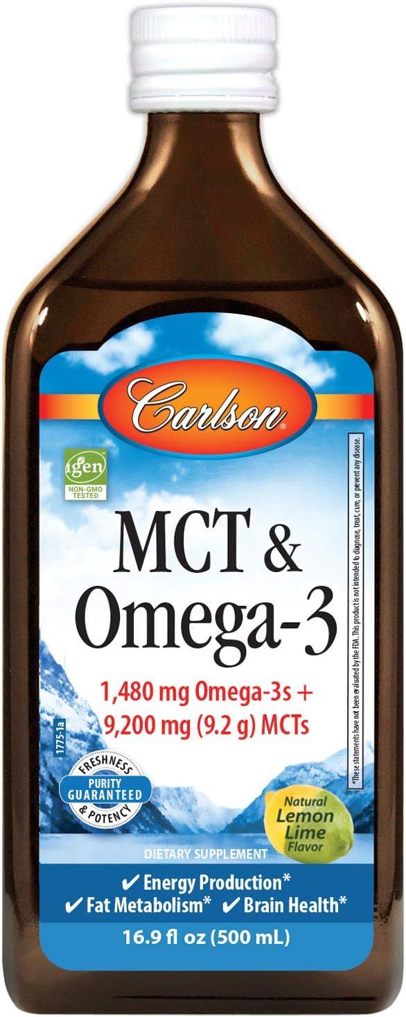 Carlson - MCT & Omega-3, 1480 mg Omega-3s, 9200 mg MCTs, Energy Production, Fat Metabolism, Lemon-Lime, 500 ml