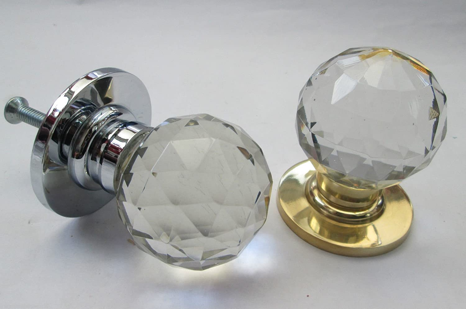 2x REAL GLASS ROUND GLASS BALL PULL HANDLES CHROME BACK PLATE Door Knob 38mm