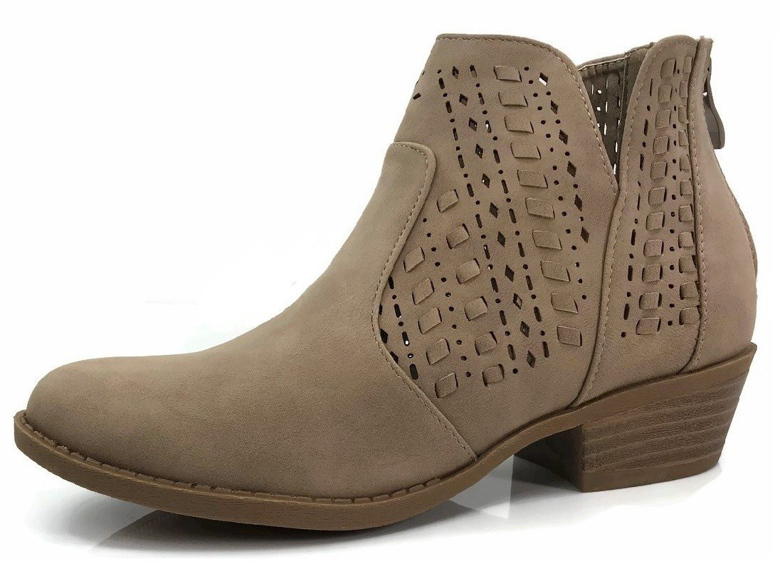 Top Moda Women's Ankle Bootie Perforated Side V Cut Low Chunky Stacked Heel, Khaki, 8