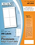 """Kenco Premium White Address Shipping UPC Laser/Inkjet Labels Made in The USA (4"""" X 6"""" 200 Labels)"""