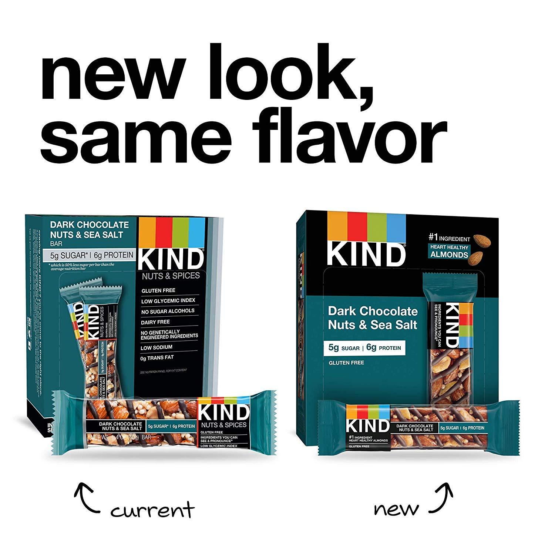Bars, Dark Chocolate Nuts & Sea Salt, Gluten Free, Low Sugar, 1.4oz, 24 Count by KIND (Image #5)