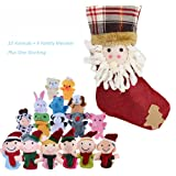 SHOBO Finger Puppets Set With Christmas Stocking Including 10 Animals Plus 6 People Family Member Finger Puppets for Toddlers Baby Kids for Story Time, Shows, Playtime, Schools
