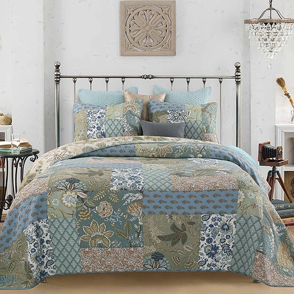 Reversible Breathable Comforter Botanic Floral Quilted Coverlet with Pillow Shams, Bohemian Pattern Green