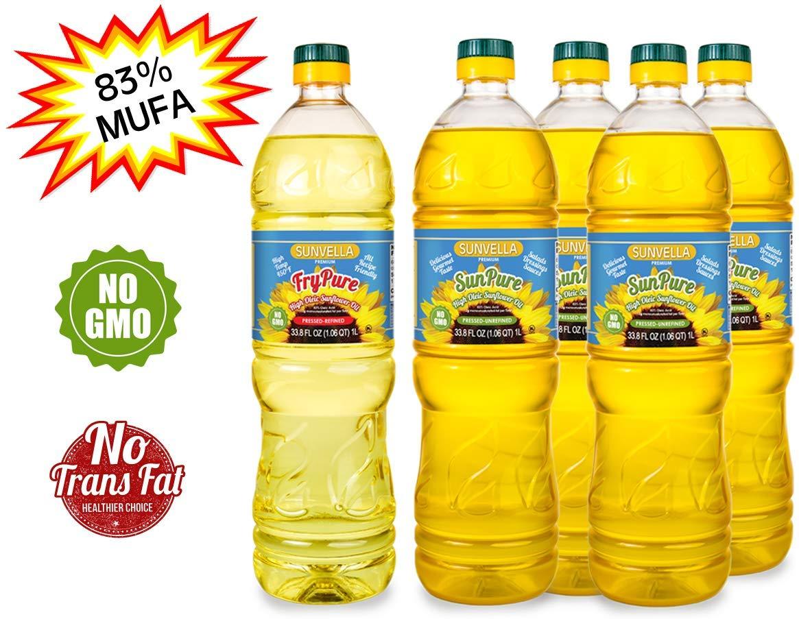 SUNVELLA Non-GMO High Oleic Sunflower Oil Variety Pack/Pressed-Refined + Pressed-Unrefined (33.8 FL OZ FryPure + 4 x 33.8 FL OZ SunPure) by SUNVELLA