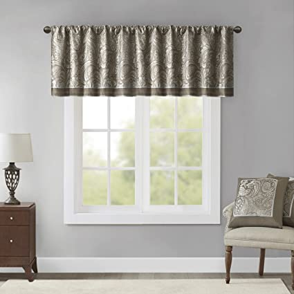 Blue Curtains For Living Room, Traditional Rod Pocket Gold Curtains For  Bedroom, Paisley Aubrey