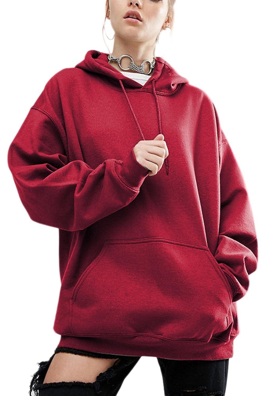 Women Plus Size Casual Loose Teengirls Hoodie Sweatshirts Tops With Pockets CAMEG433