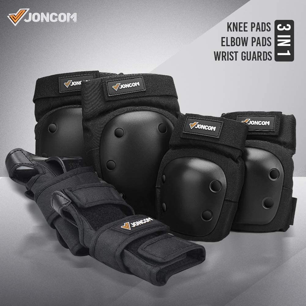 Joncom Knee Pads Elbow Pads Wrist Guards for Kids Youth Adult 3 in 1 Protective Gear Set for Skateboarding Cycling Snowboarding Rollerblading Roller Skating
