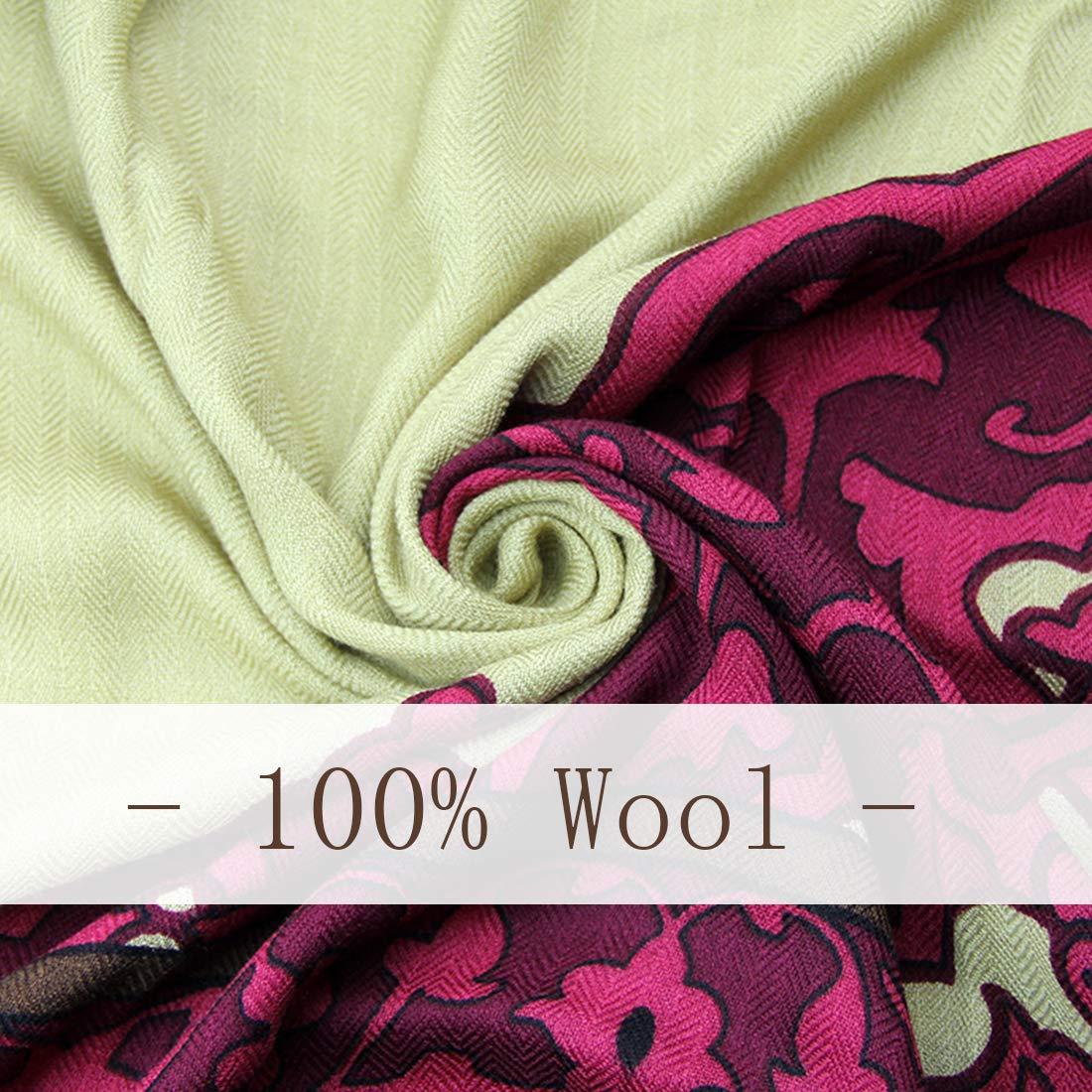 Green/&Purple DANA XU 100/% Pure Wool Winter Women Scarf National Style Pashmina /…