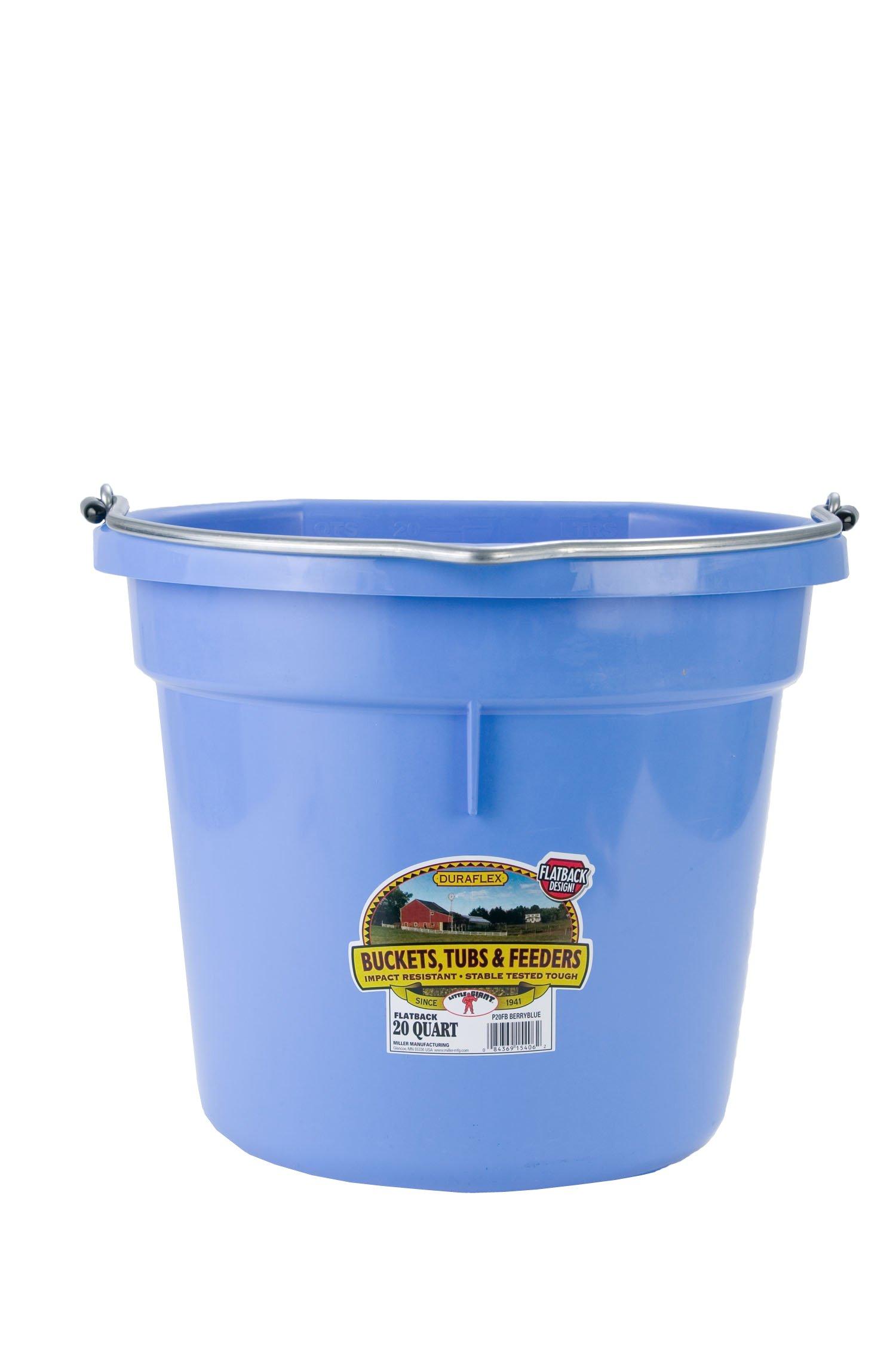 Miller Manufacturing P20FBBERRYBLUE Plastic Flat Back Bucket for Horses, 20-Quart