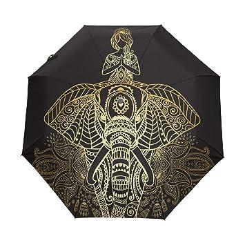 Paraguas automático de yoga con diseño de elefante árabe indio, resistente al viento, resistente