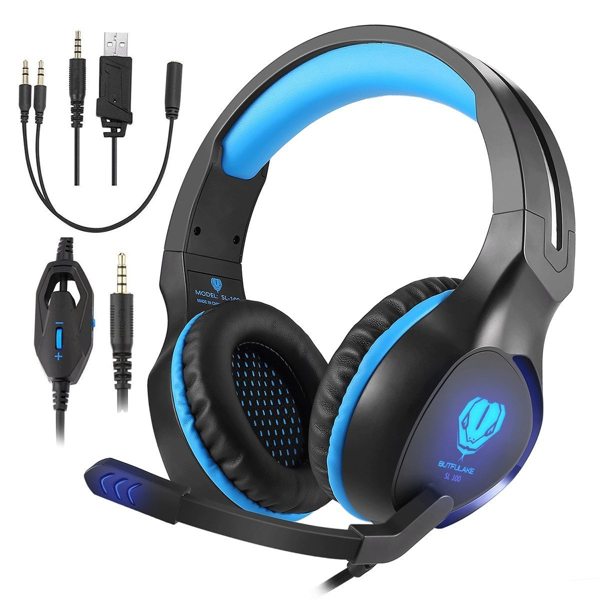 Butfulake Gaming Headset for Xbox One PS4 PlayStation 4 Nintendo Switch PC Smartphone, 3.5mm Stereo Gaming Sound Over-Ear Headphones Noise Cancelling with Mic and LED Light, Blue
