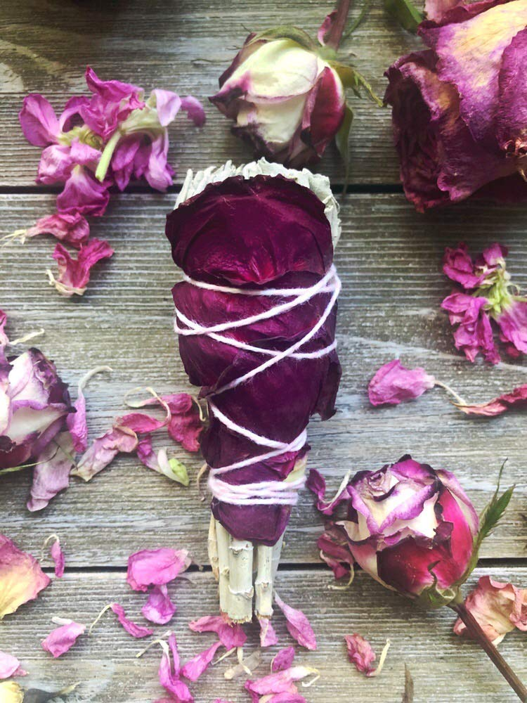 Mini Rose Petal Goddess Floral Smudge Stick