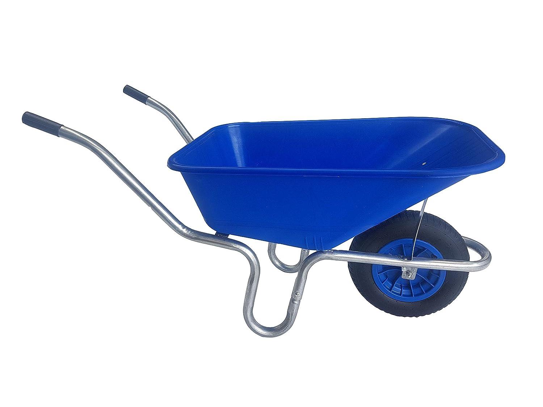 110 Litre Large Blue Plastic Wheelbarrow With Pneumatic Wheel Ketoplastics