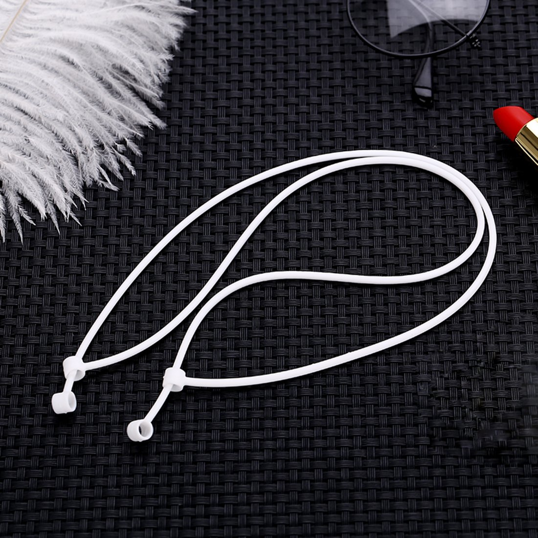 ShangBai Anti-lost Airpods Strap with Case for Apple iPhone Airpods Wireless Bluetooth Earphones Lanyard Soft Silicone Rope Connect Cable (White - 2 Piece) (white-4 Pack)