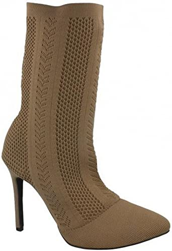 Ladies Anne Michelle High Heel Slip On Knitted Calf Boots
