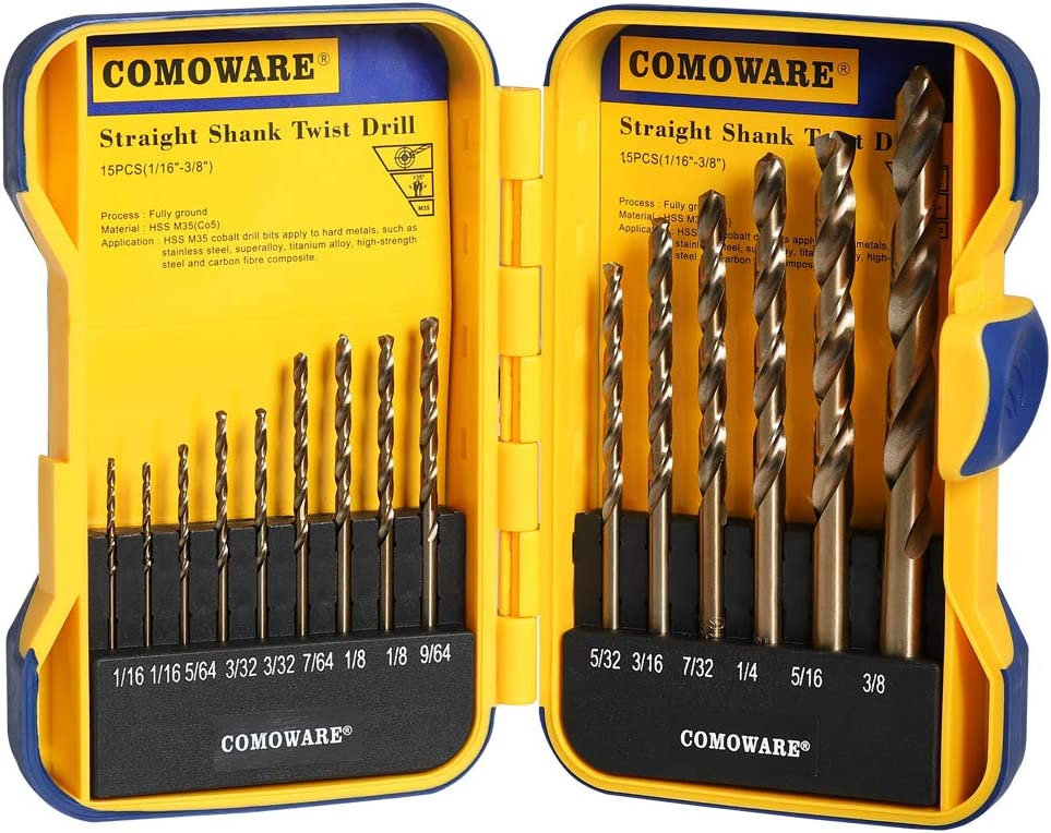 High-Speed Steel Black and Gold Finish with 135 Degree Split Point Tip 1//16 to 1//2 x 64ths Increments COMOWARE 29-Piece Drill Bit Set