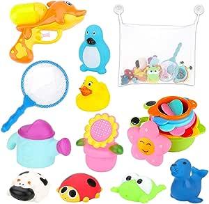 BBLIKE Juguetes Bañera, 19 PCS Almacenamiento de Juguetes Baño para Bebés con Pistola de Agua, Red de Pesca, Vasos Apilables