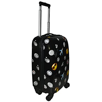 "Smiley Emoji Happy Travels 22"" Carry-on Spinner Suitcase w/ TSA Lock"