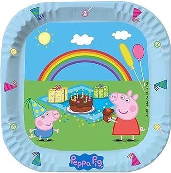 6 Platos Cuadrados * Peppa Pig * para cumpleaños Infantiles ...