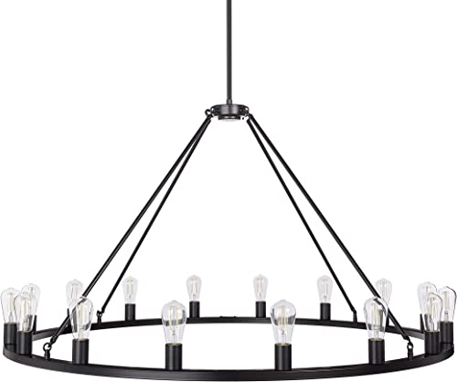 Sonoro 50 Large Black Wagon Wheel Chandelier – Farmhouse Rustic Round Dining Room Hanging Lighting Fixture – Includes LED Bulbs