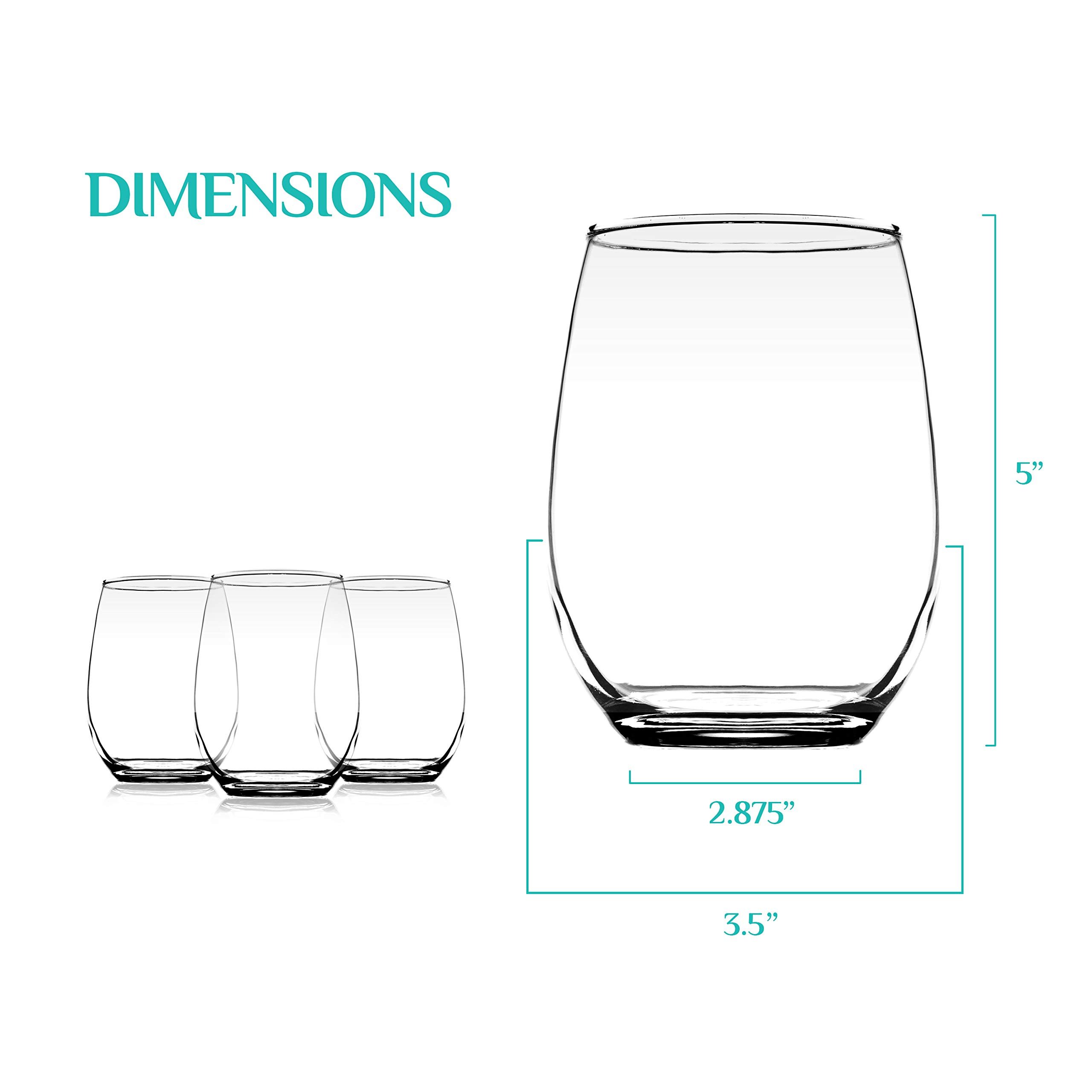 Element Drinkware Stemless Wine Glass 20oz Great For White Or Red Wine - Large Size Durable Chip Resistant Rim Wine Tumbler Premium Drinking Cups Great Gift for Wine Lovers or Crafters - Bulk Set of 6 by Element Drinkware (Image #2)