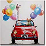 SEVEN WALL ARTS - Home Decoration Artwork Oil Painting On Canvas Modern Wall Art Cute Animal Road Trip Ready to Hang for Home24 x 24 Inch