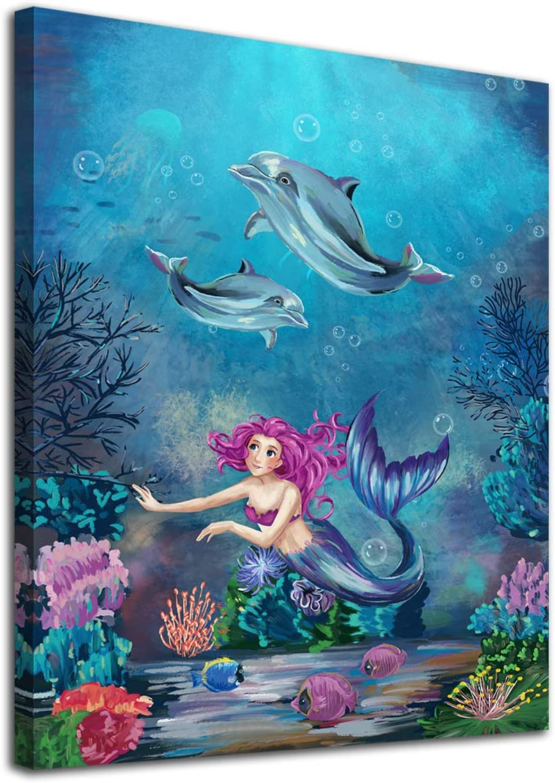 "Mermaid Wall Art Underwater Ocean Canvas Pictures Coral Dolphin Tropical Fish Modern Artwork Contemporary Print Framed for Nursery Bathroom Bedroom Living Room Home Office Kitchen Wall Decor 12"" x 16"""