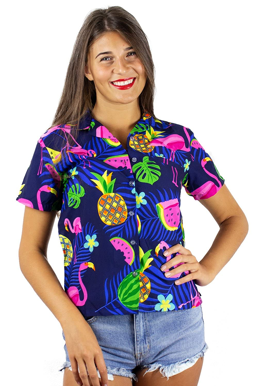 bluee King Kameha Funky Hawaiian Shirt Blouse Women Shortsleeve Frontpocket HawaiianPrint Melon Flamingo Fruits