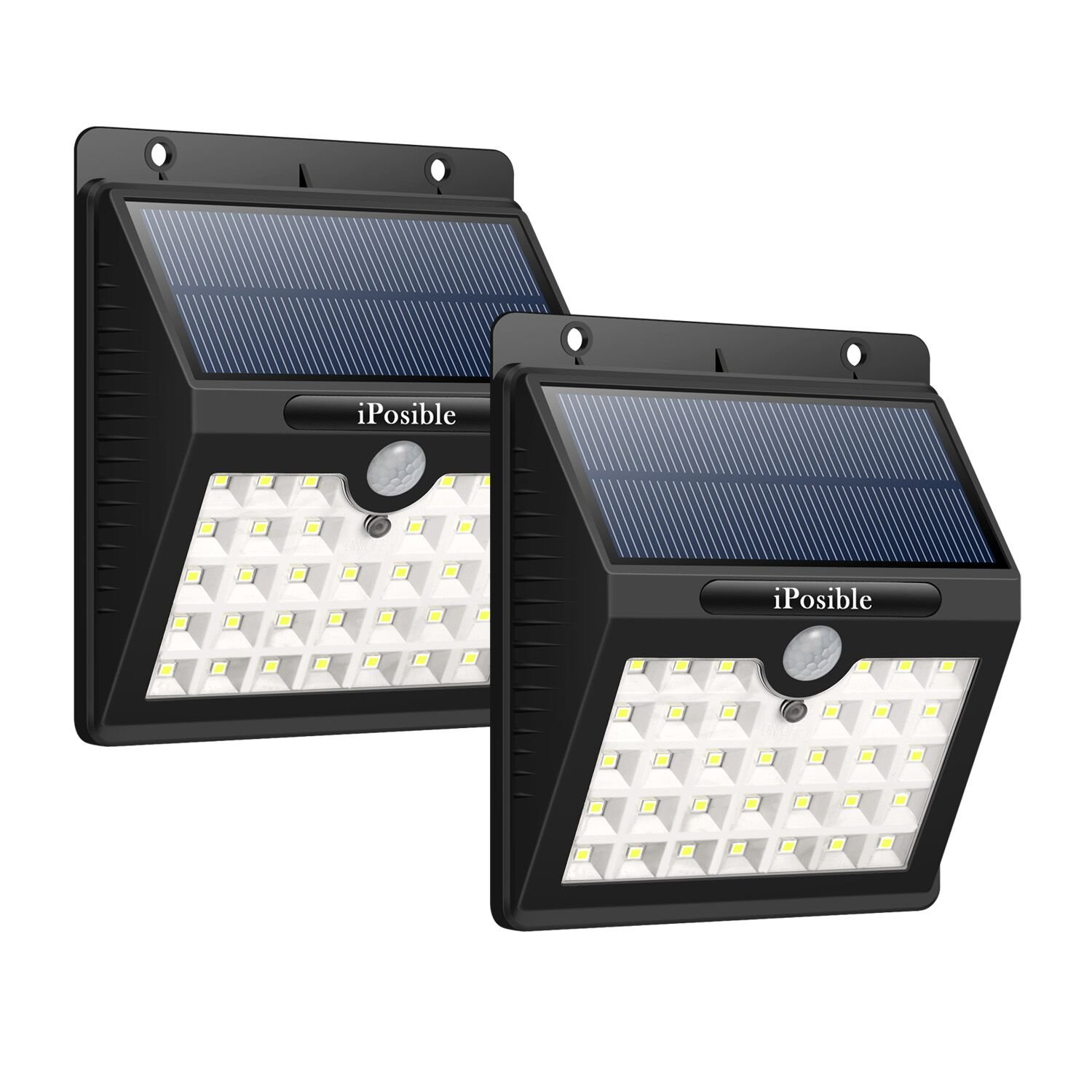 Solar Security Lights,iPosible [2 Pack] 33 Led Motion Sensor Lights Solar Powered Lights Waterproof with 3 Intelligient Modes Outdoor Wireless Wall Lights Outside lighting for Patio Fence Yard Garden