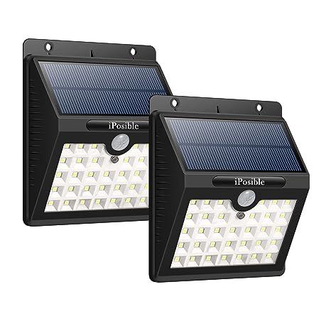 iPosible Luz Solar Jardín, 【3 Modos-2 Piezas】 33 LED Luces Solares con Sensor de Movimiento Focos Led Solars Exterior Impermeable Lampara Solar Pared ...