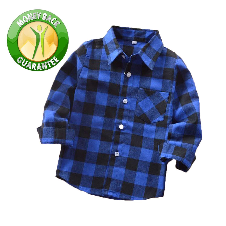 Rainlover Little Boys' Long Sleeve Button Down Plaid Flannel Shirt