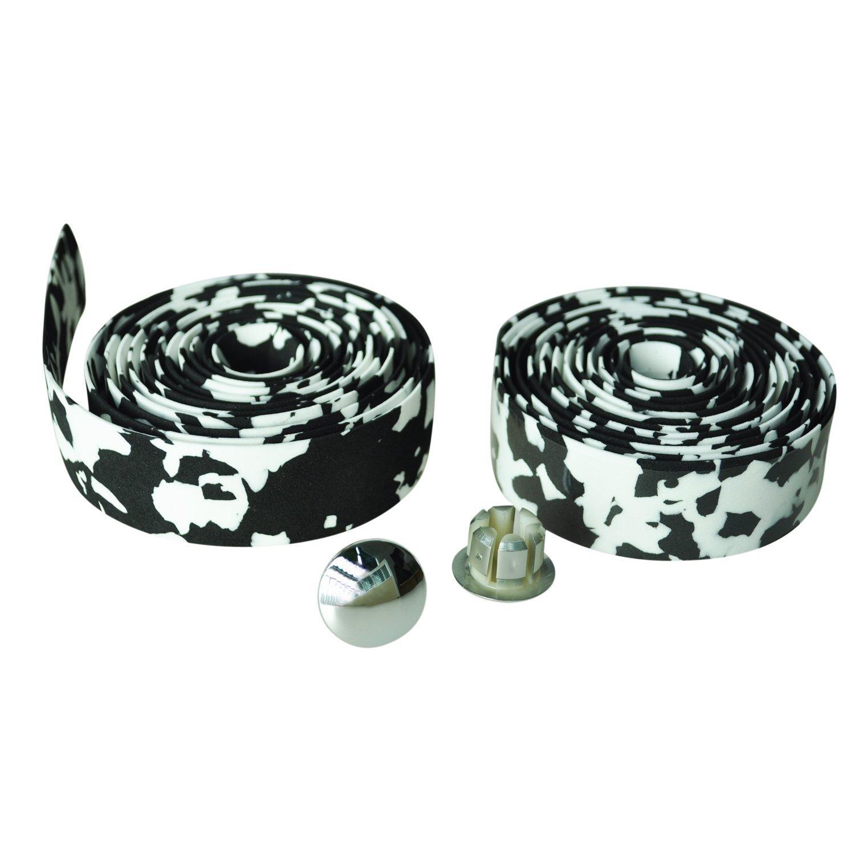 SODIAL(R) ロード自転車 コルクハンドルバー バーグリップ ラップテープ+ 2バープラグ 黒,レッドカモ B00YO99QTOBlack & white camo