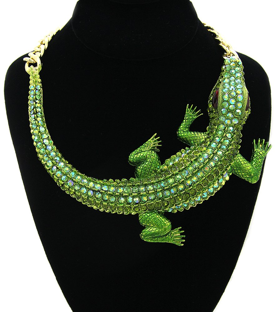 GALHAM - Huge Fashion Green Iced Out Crocodile Pendants Chunky Statement Necklace