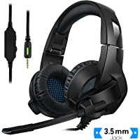 Rodzon Gaming Headsets for PS4, PC, Xbox One Controller,Foldable Noise Cancelling Ps4 Headsets Microphone, Bass Surround, Soft Memory Earmuff for Laptop Mac Nintendo Switch Games