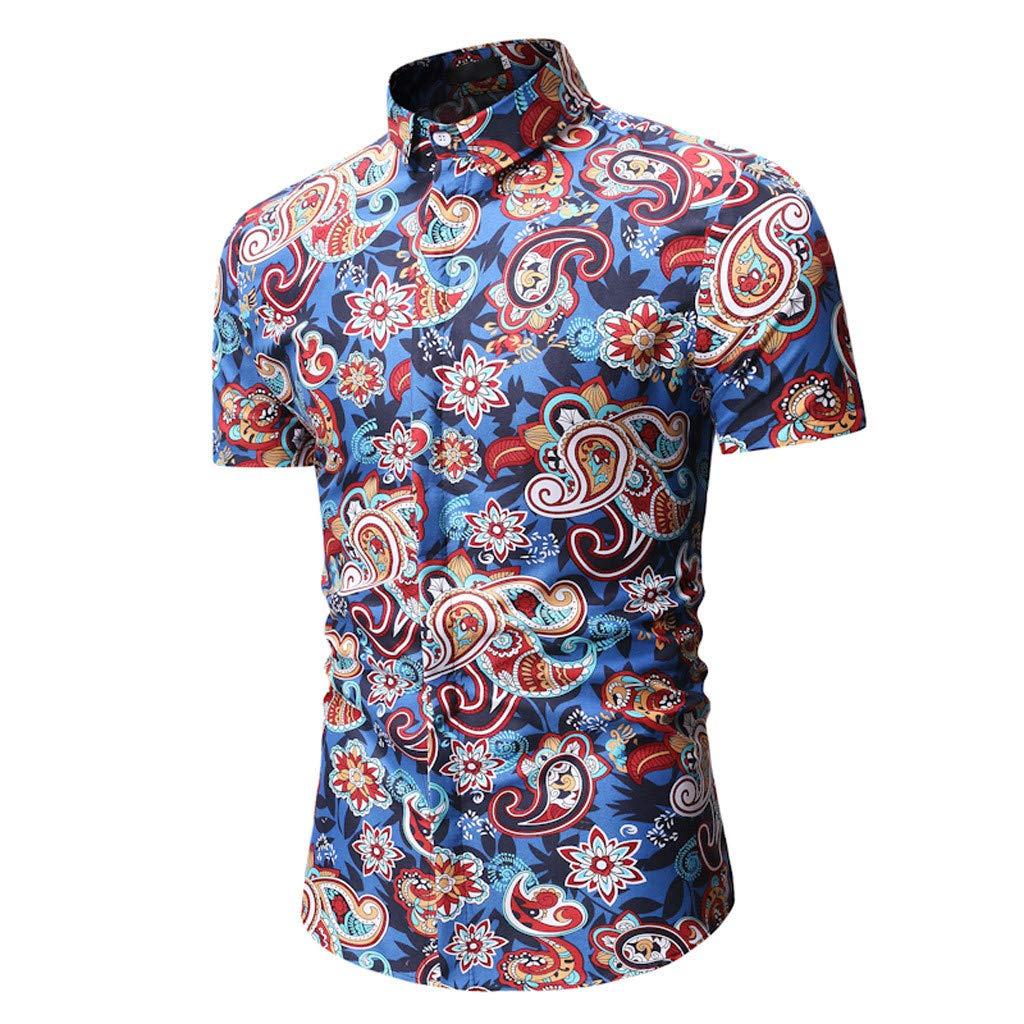 iLXHD T-Shirt Mens Summer Splicing Stripe Printed Casual Button Down Short Sleeve Hawaiian Shirt