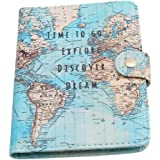 Gluckliy PU Leather Passport Cover Holder Travel Vintage Protective Case (Map)